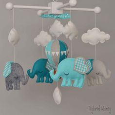 Elephant Mobile - Hot Air Balloon Mobile - Custom Mobile (not ready made)…