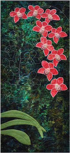Orchids by Moira Dow. Freewheeling – Textile Artists (UK).