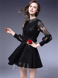 Black Long Sleeves Coctail Dress