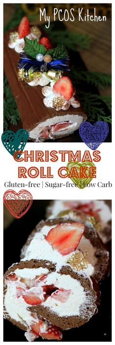 My PCOS Kitchen - Christmas Roll Cake - A gluten-free and sugar-free roll cake that the whole family will love!! Sugar Free Desserts, Sugar Free Recipes, Low Carb Desserts, Fun Desserts, Dessert Recipes, Healthy Desserts, Delicious Desserts, Keto Snacks, Healthy Treats