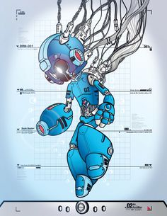 """justinrampage: Tonny Jimenez throws down his entry for UDON's Mega Man Tribute contest! Being the second robot created by Dr. Light, he sports the """"02"""" on his chest. RockMan DRN-001 by Tonny Jimenez (deviantART) (Twitter)"""
