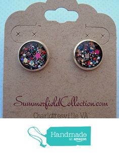 "Silver-Tone Black and Multi-Color Confetti Glitter Glass Stud Earrings 1/2"" Round from Summerfield Collection http://www.amazon.com/dp/B01BB76IG0/ref=hnd_sw_r_pi_dp_t5.Swb08VHK2A #handmadeatamazon"