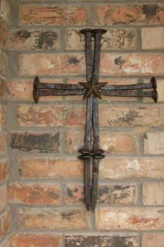 Railroad spike cross with star