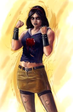 """Disney Fighter - Snow White by ~joshwmc on deviantART - """"Now she's a Lisbeth Salander inspired tough girl who learned her street fighting skills growing up in the decaying suburbs of a desolate city overrun by the Seven Drug Lords. Disney Princess Warriors, Disney Princess Art, Warrior Princess, Disney Fan Art, Disney Love, Disney Stuff, Disney Magic, Bad Princess, Evil Disney"""