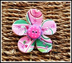 Fun and Funky fabric and felt flower brooch. £4.95