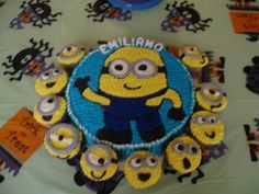 Minion party cake and cupcakes