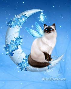 Winter Moon Cat - Melissa Dawn.
