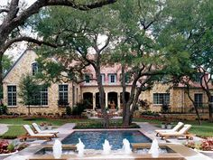 southern accents 2003 showhouse, dallas. fountains and pool decking, beautiful texas limestone