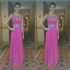 Sleeveless Prom Dress,Chiffon Prom Dresses,Beading Evening Dress,Formal Gowns