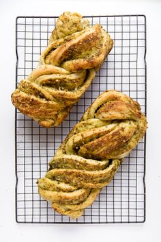 Parmesan Pesto Bread: a braided loaf slathered in homemade pesto and parmesan. Perfect for a late summer night.
