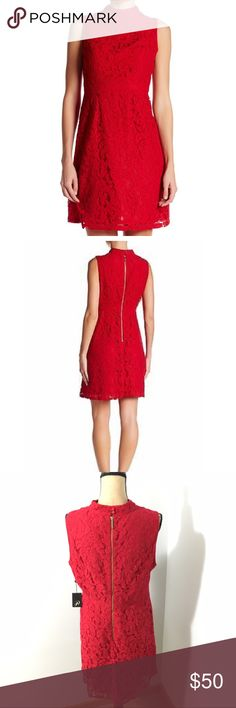 NWT Adrianna Papell Red Lace Dress New with tags! Red lace mock neck dress. Exposed gold back zipper. Measurements available upon request. Offers welcome! Adrianna Papell Dresses