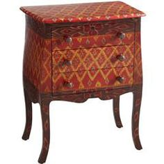 Ikat Bombe Chest - Hall chest under a Picasso lithograph - down the hall is another larger chest in blonde wood with red vines - great pairing!