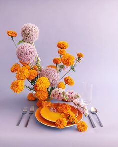 Marigold and Lilac -- kind of a cute idea for a Thanksgiving/Friendsgiving tablescape take two colors and blow them out Design Set, Floral Design, Event Design, Floral Centerpieces, Floral Arrangements, Tall Centerpiece, Centrepieces, Wedding Centerpieces, Wedding Decorations