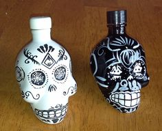 2 Mini 50 ml Empty Kah Tequila Collectable Hand Painted Black White Bottles RARE ~ Great for Salt & Pepper Shakers