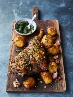 This Roast Leg of Lamb recipe is the classic Spring Sunday lunch and is perfect for Easter; try Jamie's proper homemade mint sauce recipe to go with it! Lamb Roast Recipe, Roast Recipes, Cooking Recipes, Healthy Recipes, Best Lamb Leg Recipe, Recipes For Lamb, Greek Lamb Recipes, Recipes Dinner, Good Roasts