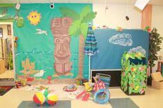 Hawaiian Luau Middle School and Elementary Bulletin Board Idea