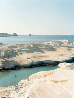 Taking a dip at Milos's Sarakiniko's Beach.