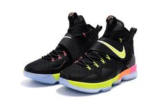 671f0b0fd37 Purchase 2017 Nike LeBron 14 Black Rainbow Bottom Basketball Shoes For Men  Shopping