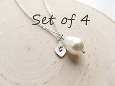 Bridesmaid Gift Set of 4 Silver Personalized Necklace by IrinSkye, $64.80
