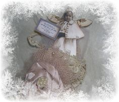 Vintage Dragonfly:  Closeup of little tussie mussie girl with her invitation to the fairie ball