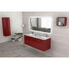 Meuble de salle de bain rouge 140 cm Ceylan - CASTORAMA