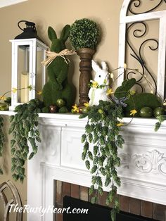 Easter mantel with bunnies and eggs Christmas Lanterns, Christmas Swags, Easter Table Decorations, Easter Decor, Lanterns Decor, Vintage Easter, Easter Wreaths, Easter 2021, Peter Cottontail