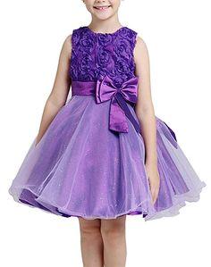 Colorful House Girls 3D Flower Wedding Bridesmaid Party Princess Dress (Size 3, Purple)