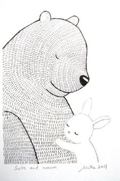 Bear and rabbit.. The unlikely friendship featured in so many children's books.