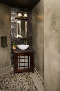 Asian Bathroom Design Floral Carvings