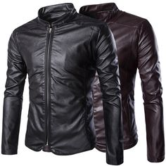 Sale 16% (52.99$) - Mens Fashion PU Leather Casual Stand Collar Zipper Jackets Autumn Solid Color Coat