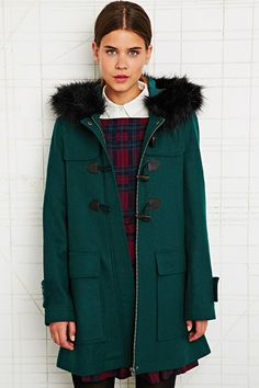 Cooperative Fur Trim Duffle Coat in Green at Urban Outfitters