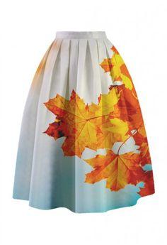 Maple Sky Printed Midi Skirt