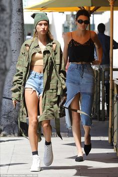 I'm a frayed show! Hailey Baldwin and Kendall Jenner flashed their pins in stressed denim as they lunched in Beverly Hills on Tuesday