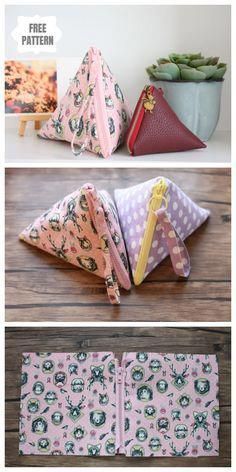 DIY Triangle Zipper Pouch Free Sewing Pattern & Tutorial – About Handbags Small Sewing Projects, Sewing Projects For Beginners, Sewing Hacks, Sewing Tutorials, Sewing Crafts, Sewing Tips, Tutorial Sewing, Bag Tutorials, Bags Sewing