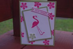 Fun card using Flamingo Lingo stamp. Receive 20% off any coordinating piece when you purchase this stamp. www.stampnshare.com