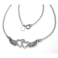 Pulsera de plata, corazones con alas y cadena tipo rolo....detalles por menos de 50 € y con el collar a juego!!!