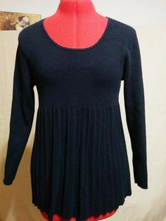 20% OFF! BUY IT NOW! Knit Smock Top Sweater Solid Black Style&co. Petite Size Large Pleated Body  | eBay