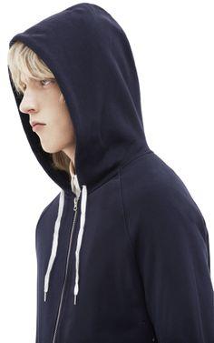 Justin navy hooded sweatshirt #AcneStudios #PreFall2014 #menswear