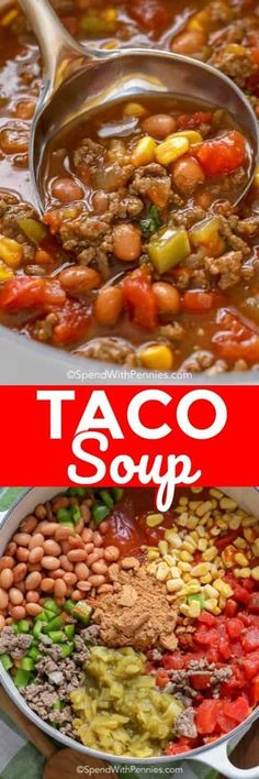 Taco Soup Recipe - Minute Meal} Spend With Pennies Taco Soup is a quick and easy soup that is hearty, satisfying and downright delicious! And the best part is that it can be prepared from start to finish in under an hour! Pastas Recipes, Chili Recipes, Mexican Food Recipes, Crockpot Recipes, Soup Recipes, Cooking Recipes, Easy Taco Soup, Carnitas, Quick And Easy Soup