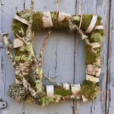 Unique Square moss and birch bark woodland wreath. One of a kind. Free Shipping!