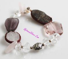 Silpada Gentle Edge Pink Quartz Drusy Crystal Bracelet Rare Retired