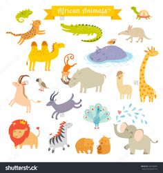 Africa animals vector illustration.Africa animals cartoon style.Africa animals set. Africa mammals art. Big vector set. Preschool, baby, continents, travelling, drawn. Isolated on white background #349708994