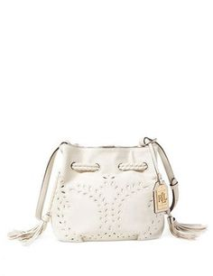 Shop for Handbags \u0026 Accessories online at A must-have style, this  embroidered leather bag by Lauren Ralph Lauren secures with a tasseled  drawstring at both ...