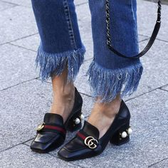 frayed hem jeans trend with gucci mid heels with pearls