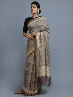 Beige Grey Hand Block Printed Chanderi Silk Saree