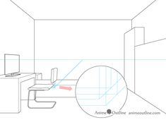 One point perspective drawing computer chair backrest attachment placement One Point Perspective Room, Perspective Drawing, Designs To Draw, Line Drawing, Uni, Art Drawings, Interior Design, Chair, Simple