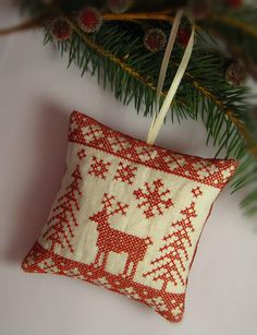 Cross Stitched Folk Art Christmas Redwork Nordic by CherieWheeler