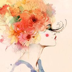 I LOVE the watercolor technique here! It is soft, colorful and translucent.  Conrad Roset Mirabilia: