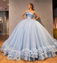 Strapless Prom Dresses, Pretty Prom Dresses, Sweet 16 Dresses, Ball Gowns Prom, Ball Gown Dresses, Cute Dresses, Masquerade Ball Gowns, Blue Ball Gowns, Dresses For Balls
