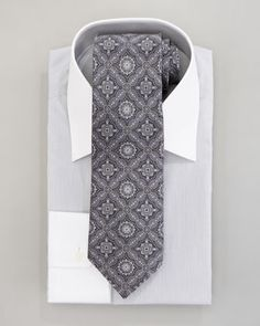 Stefano Ricci Micro-Stripe Dress Shirt & Paisley Tie, Gray - Bergdorf Goodman